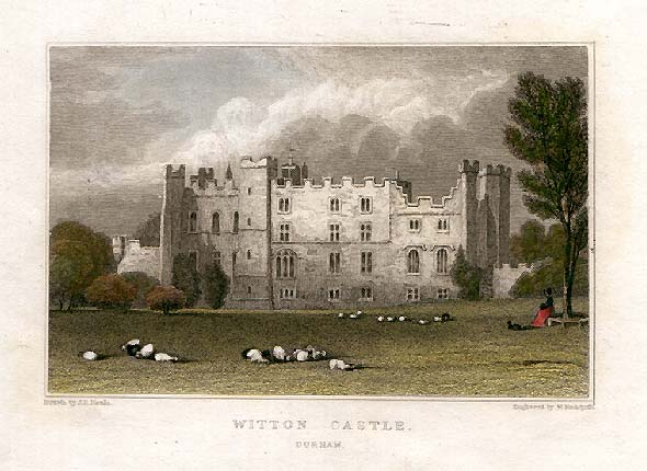 Engraving of Witton Castle near Bishops Auckland, Durham. Home of William Cuthbert, John Cuthbert and Thomas Henry Hopper