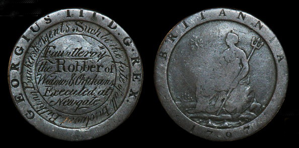 One penny coin with an inscription relating to the crash of the Marsh bank and the execution of Henry Fauntleroy