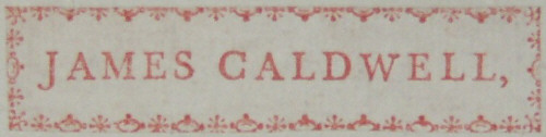 Book Plate of James Caldwell 1759-1838 of Linley Wood, Talke, Staffordshire, England