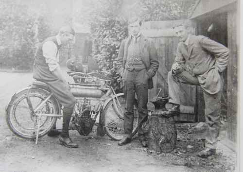 Portrait photograph Stewart and Leopold Broadwood and Friend with Motorbike.  Click for larger image.