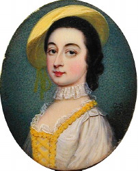 Miniature Portrait of Margaret Woffington 1714-1760 Painted by the artist Gervase Spencer 1715-1763. Click for larger image.