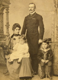 Maj Gen Frederick Crofton Heath-Caldwell with his wife Constance Mary Helsham -Jones and their sons Cuthbert and Martin around 1895. Click for larger image.