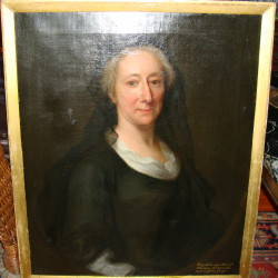 Portrait painting of Lady Elizabeth Gage 1683-1759 of Hengrave Hall Bury St. Edmunds Suffolk. Painted in 1748 by the artist John Theordore Heins (1697-1756) of Norwich, Norfolk. Click for larger image.