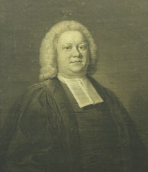Portrait of Rev Henry Hubbard BD 1707-1778 of Cambridge.  Engraved by Charles Howard Hodges after the painting by the artist John Theodore Heins 1697-1756.