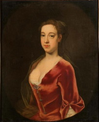 Portrait of a lady in a red dress painted in 1723 by the artist John Theodore Heins.  Click for larger image.