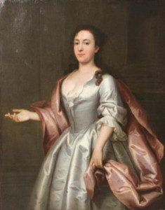 Portrait of a lady in a white dress painted by John Theodore Heins in 1742.  Click for larger image.