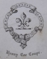 Bookplate of Henry Coe Coape Click for larger image