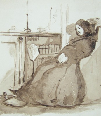 Drawings from the Eastbury Estate near Watford in the early 1850s showing Eliza Louisa Marsh-Caldwell beside the fire. Click for large images.