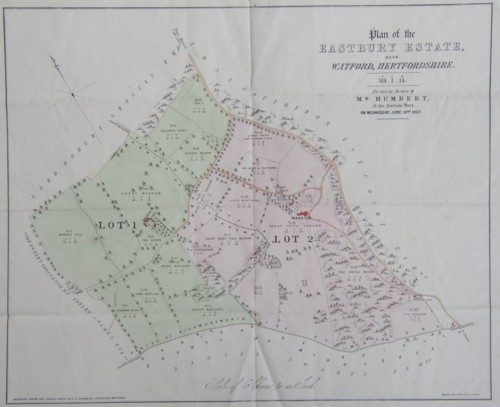 Plan map of the Eastbury Estate near Watford Hertfordshire sold by Mr Humbert in 1857. Family home of Arthur Marsh and Anne Marsh Caldwell. Click for larger image.