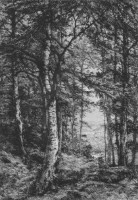 Etching of Eastbury Woods.  Click for larger image