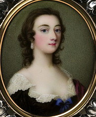Unknown lady painted  by  Gervase  Spencer  1715-1763  Artist and miniature portrait painter who was based in London England. Click for larger image.