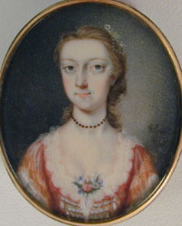 Miniature Portrait of an Unknown Lady in a Red Dress. Painted in 1745 by Gervase Spencer1715-1763. Artist and miniature portrait painter who was based in London. Click for larger image.