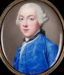 Miniature Portrait of and Unknown Gentleman Painted by Gervase Spencer 1715-1763. Click for larger image.