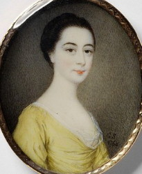 Miniature Portrait of an Unknown Lady Painted in 1760 by Gervase Spencer 1715-1763 Artist painter London. Click for larger image.