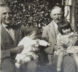 Cuthbert Heath-Caldwell with his father Frederick and the grandchildren James and Diana, at Linley Wood, circa 1931