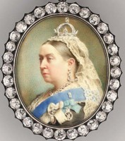 Miniature Portrait of Queen Victoria pained in 1890 by Henry Charles Heath artist painter