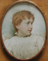 Portrait Miniature of a Young Boy Painted by the artist Henry Charles Heath 1829-1898.