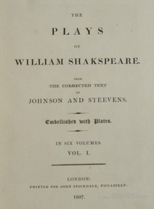Front page of the Plays of William Shakespeare published by John Stockdale in 1807