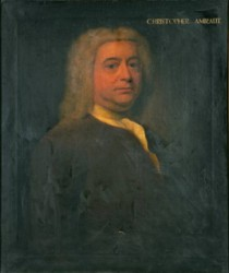 Portrait of Christopher Amiraut painted by the artist John Theodore Heins Heine 1697-1756 painter of Norwich Norfolk painting