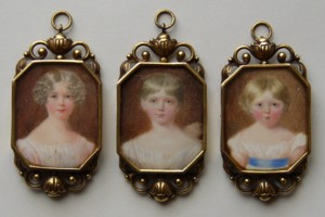 Miniature Portraits of the first three children of Anne Marsh Caldlwell and Arthur Cuthbert Marsh painted around 1822.  