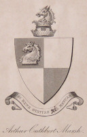 Bookplate of Arther Cuthbert Marsh of Eastbury.  Click for larger image.